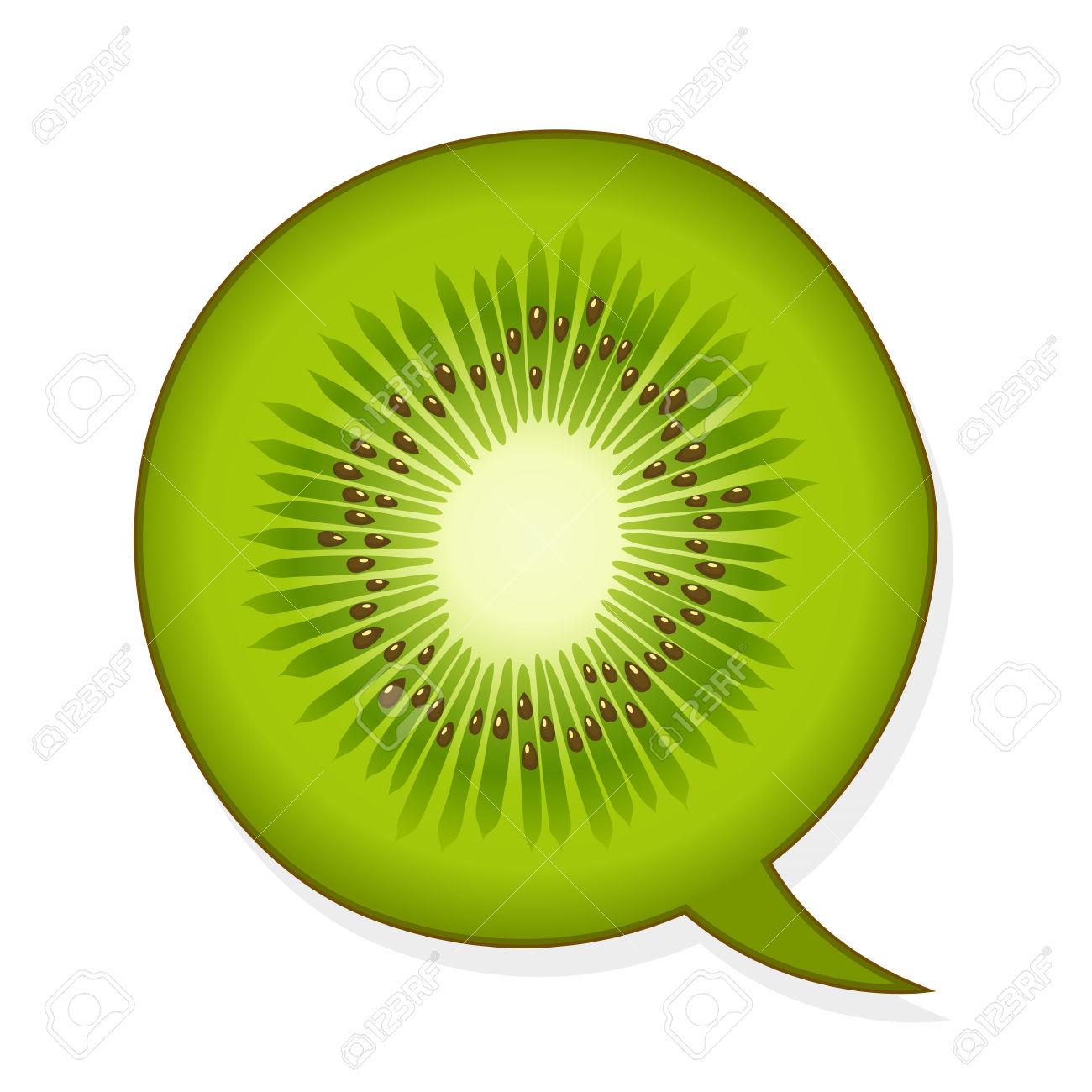 Speech Bubble In The Shape Of A Juicy Green Tropical Kiwifruit.