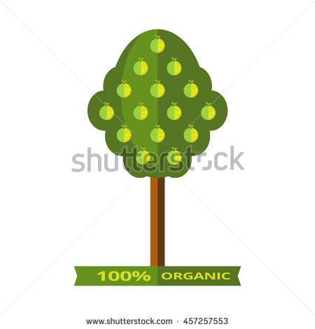 Vector Illustration Apple Tree Juicy Green Stock Vector 457257553.