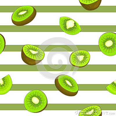 Seamless Vector Pattern Of Ripe Kiwifruit. Striped Background With.