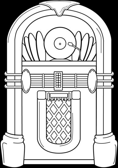 Jukebox Coloring Page.