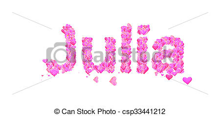 Clipart of Julia female name with hearts.