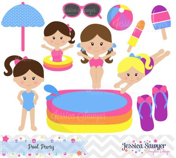 INSTANT DOWNLOAD, pool party clipart or pool party vectors for.