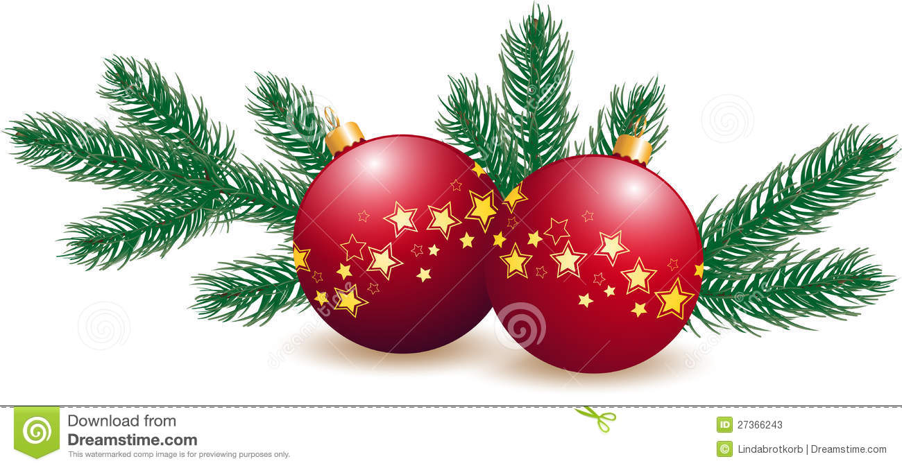 Christmas Tree With Decoration Royalty Free Stock Photos.