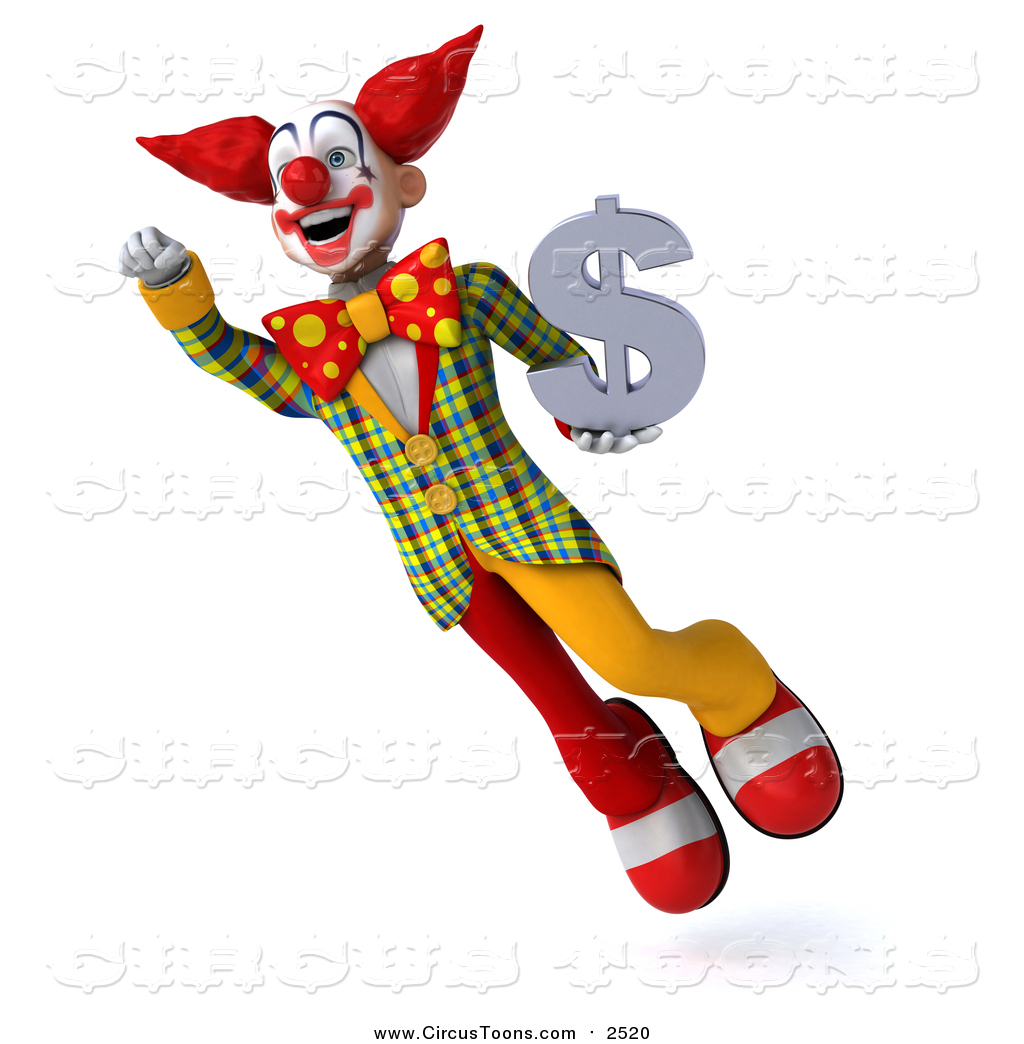 Circus Clipart of a 3d Clown Flying and Holding a Dollar.