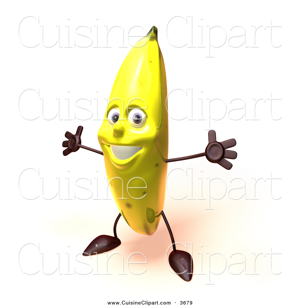Cuisine Clipart of a 3d Banana Character Holding His Arms.