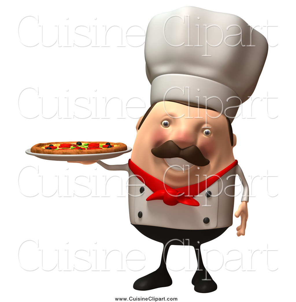 Cuisine Clipart of a 3d Chubby Chef Serving a Pizza Pie by.
