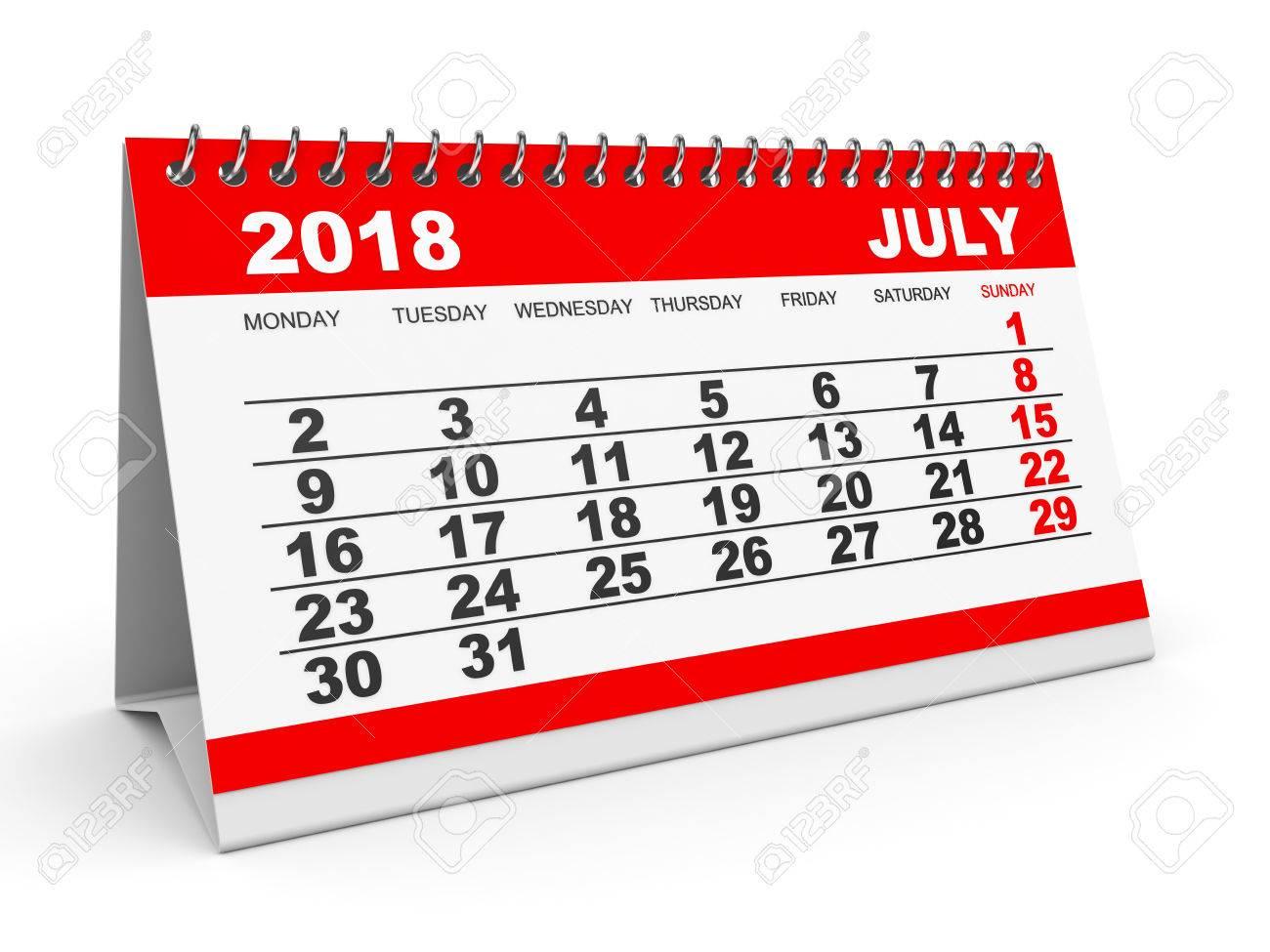 Calendar Clipart July 2018.