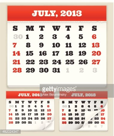 Fourth of July 2013 Holiday Calendar Set Clipart Image.