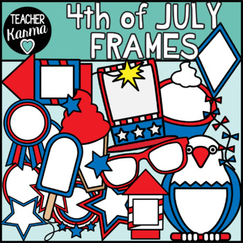 4th of July Frames Clipart, Holiday Borders.