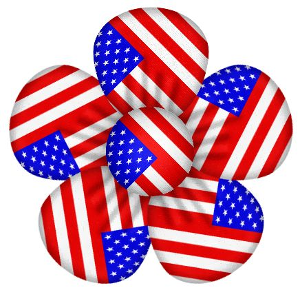 Patriotic usa flag flower decor clipart july 4th clip art.