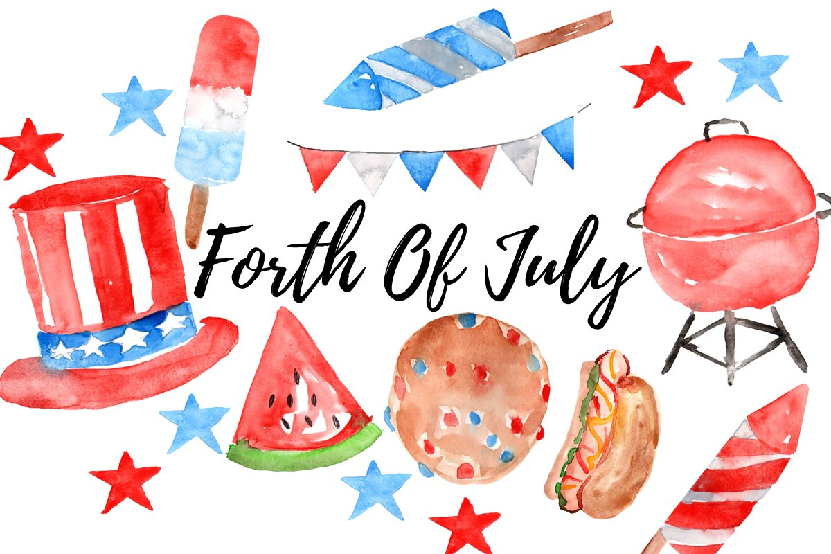 Watercolor Forth Of July Clipart ~ Illustrations ~ Creative.