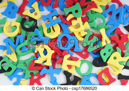Stock Photo of jumble of foamed rubber letters.
