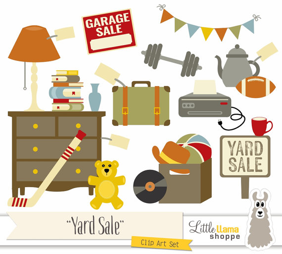 Yard Sale Clipart Garage Sale Clip Art by LittleLlamaShoppe.