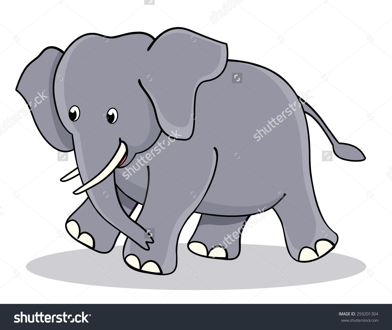 Cute Little Baby Elephant Jumbo Clipart Stock Illustration.