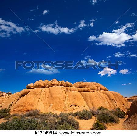 Stock Photo of Joshua Tree National Park Jumbo Rocks in Yucca.