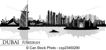 EPS Vectors of Dubai Jumeirah skyline silhouette background.