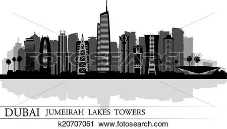 Clipart of Dubai Jumeirah Lakes Towers skyline silhouette.