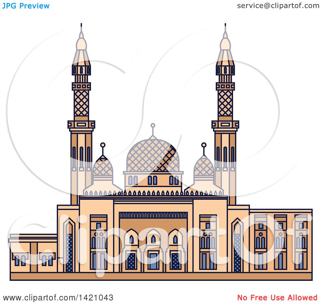 Clipart of a United Arab Emirates Landmark, Jumeirah Mosque.