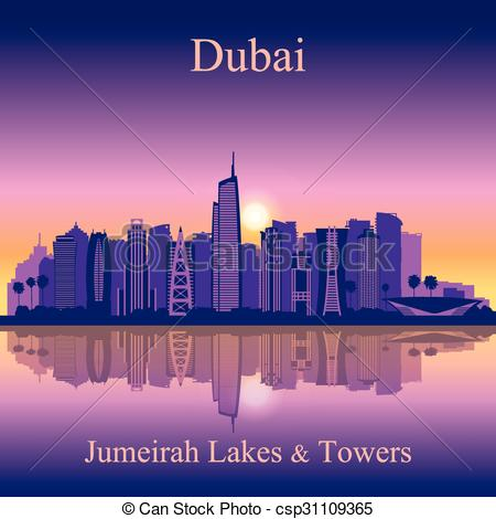 Clip Art Vector of Dubai Jumeirah Lakes Towers skyline silhouette.
