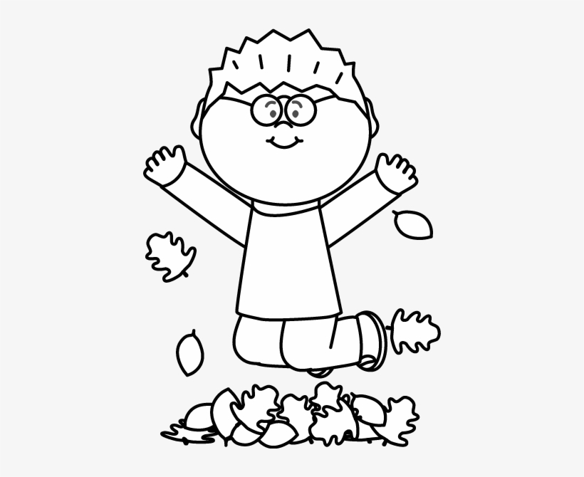 Black And White Boy Jumping In Leaves Clip Art.