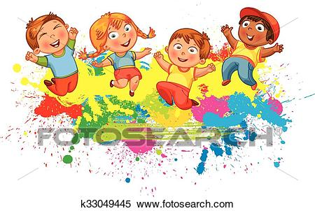 Children jump for joy Clipart.