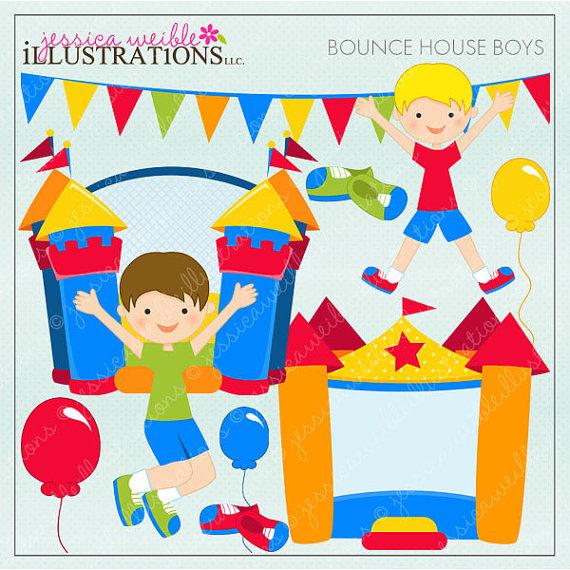 Bounce House Boys Cute Digital Clipart for Card Design.