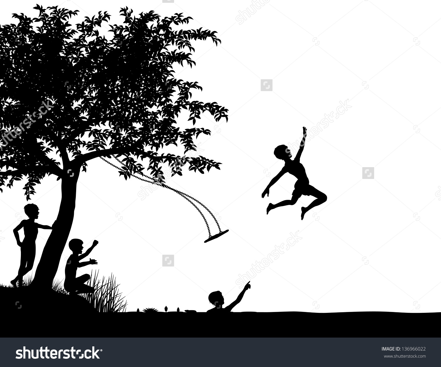 Editable Vector Silhouette Young Boys Leaping Stock Vector.