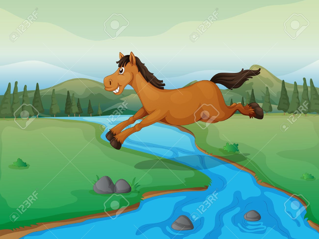 Illustration Of A Horse Crossing The River And A Mountain View.