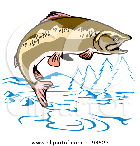 Jumping Bass Fish Clip Art.