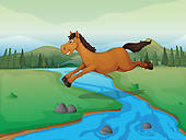 Drawings of A horse jumping over a river hws0004.