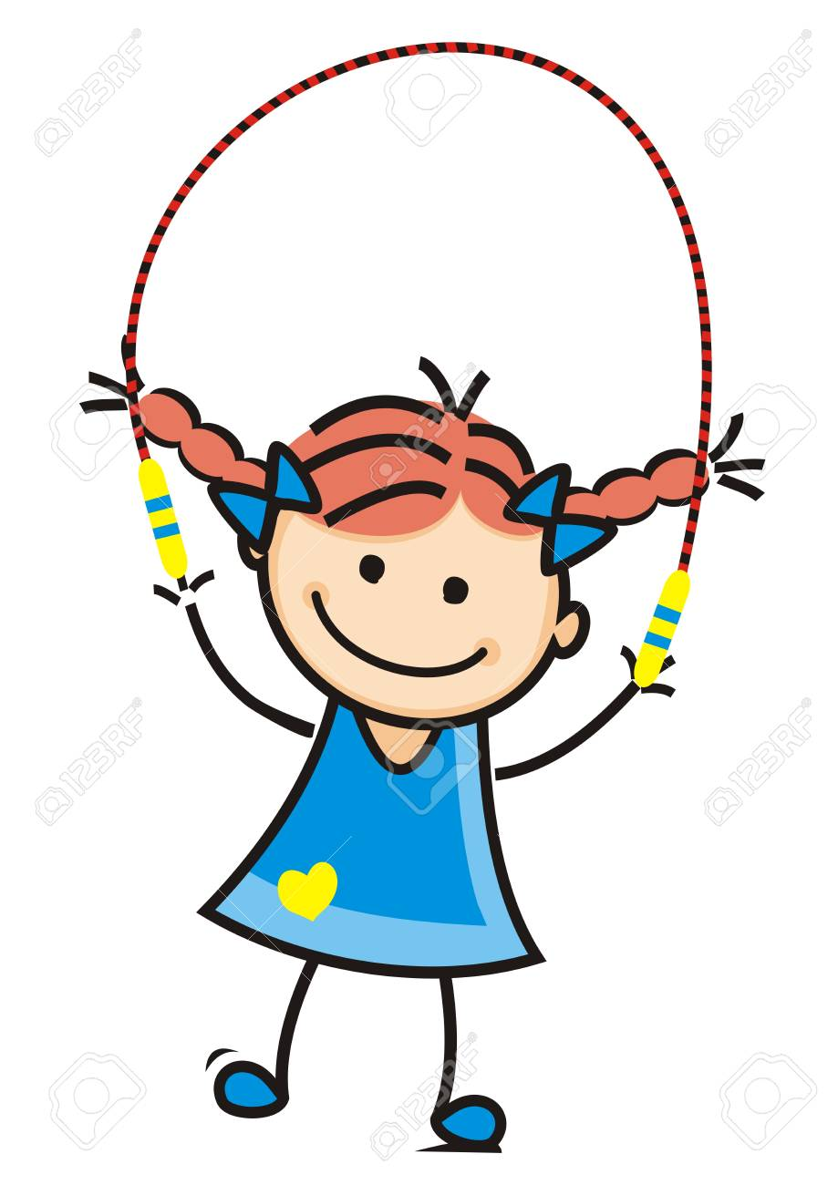 Girl and jump rope, vector illustration.