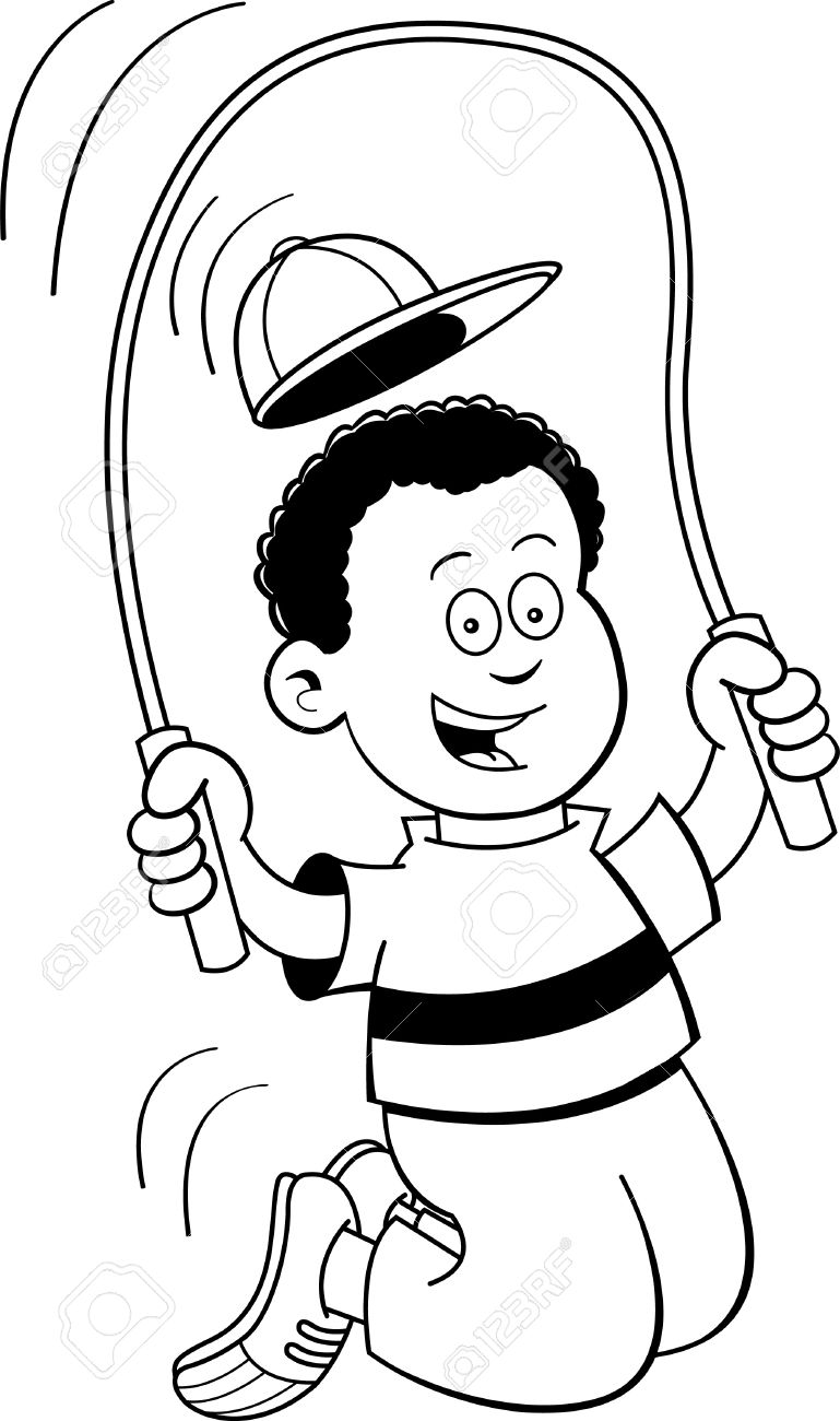 Black and white illustration of a boy jumping rope.
