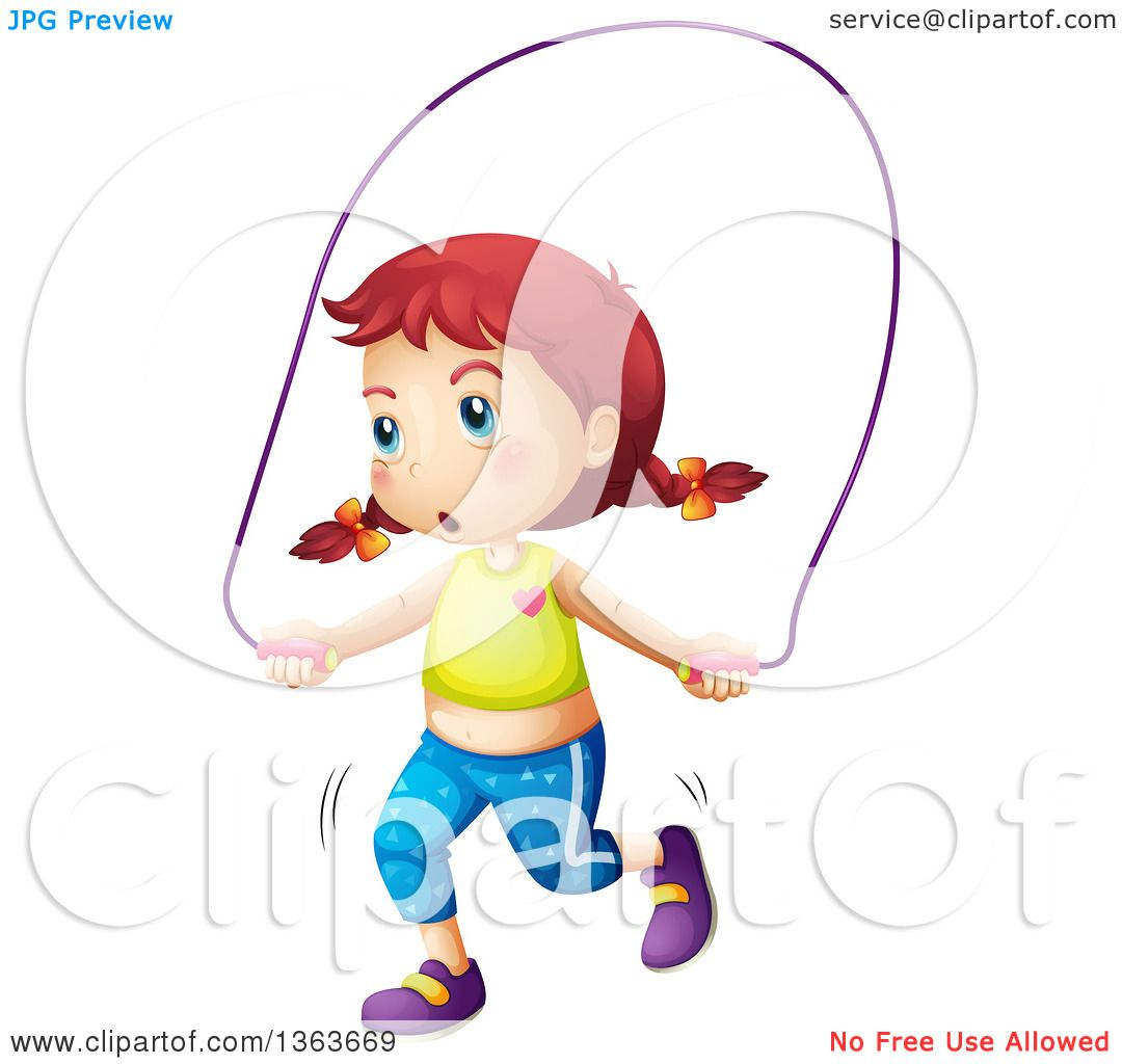 Clipart of a White Girl Playing with a Jump Rope.