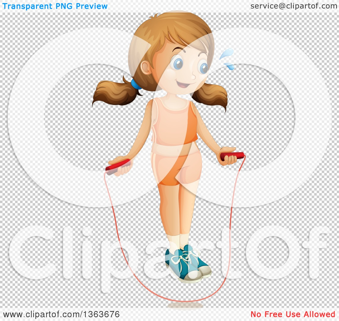 Clipart of a White Girl Exercising with a Jump Rope.