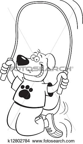 Clipart of Cartoon dog jumping rope k12802784.