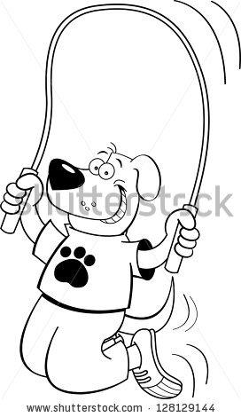 Black White Illustration Dog Jumping Rope Stock Illustration.