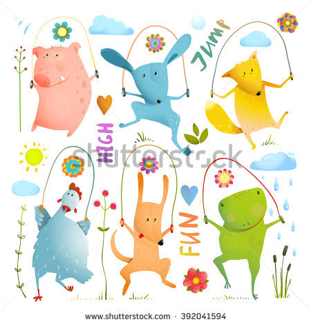 Animal Set Jumping Rope Colorful Collection Stock Vector 392041594.