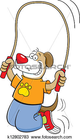 Clipart of Cartoon dog jumping rope k12802783.