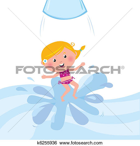 Clip Art of Happy smiling kid jumping from water slide tube / aqua.