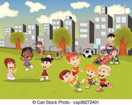 Vector Clipart of Little kids playing slide, seesaw, jump rope and.