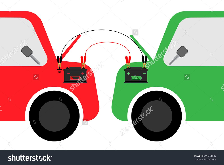 Clip Art Auto Battery Jump Start.
