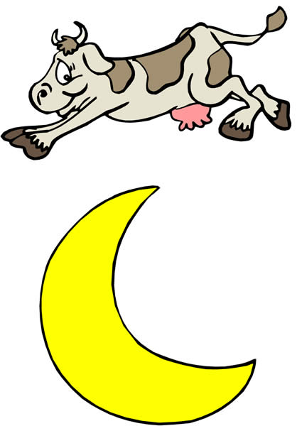 Cow jumped over the moon clipart.
