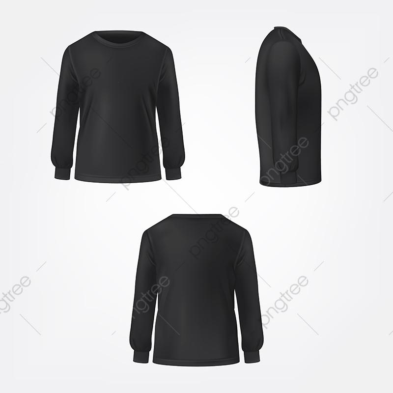 Black Jumper Three Sides Realistic Vector, Black, Jumper, Sweater.