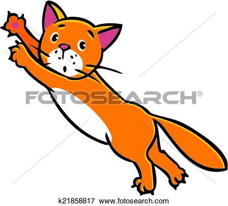Clip Art of Jumping cat k21858817.