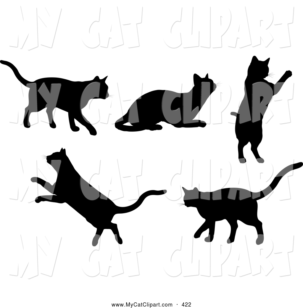 Clip Art of a Set of Silhouetted Black Kitty Cats Walking, Resting.