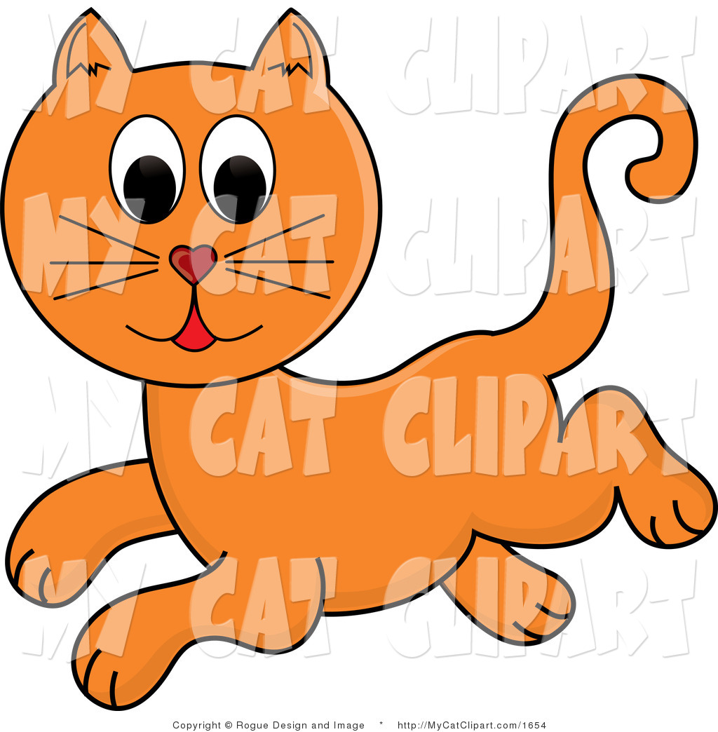 Vector Clip Art of a Ginger Cat Jumping by Pams Clipart.