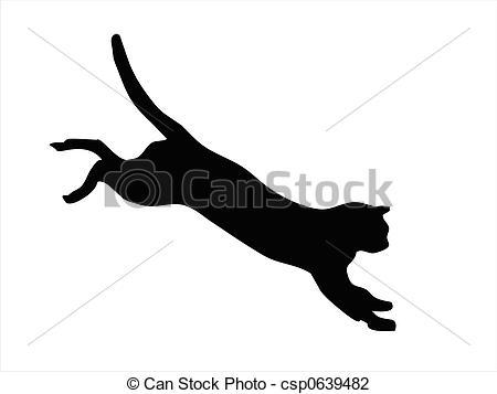 Clip Art of Wild cat jumping.