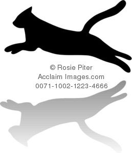 Clipart Illustration of a Silhouette of a Cat Jumping.