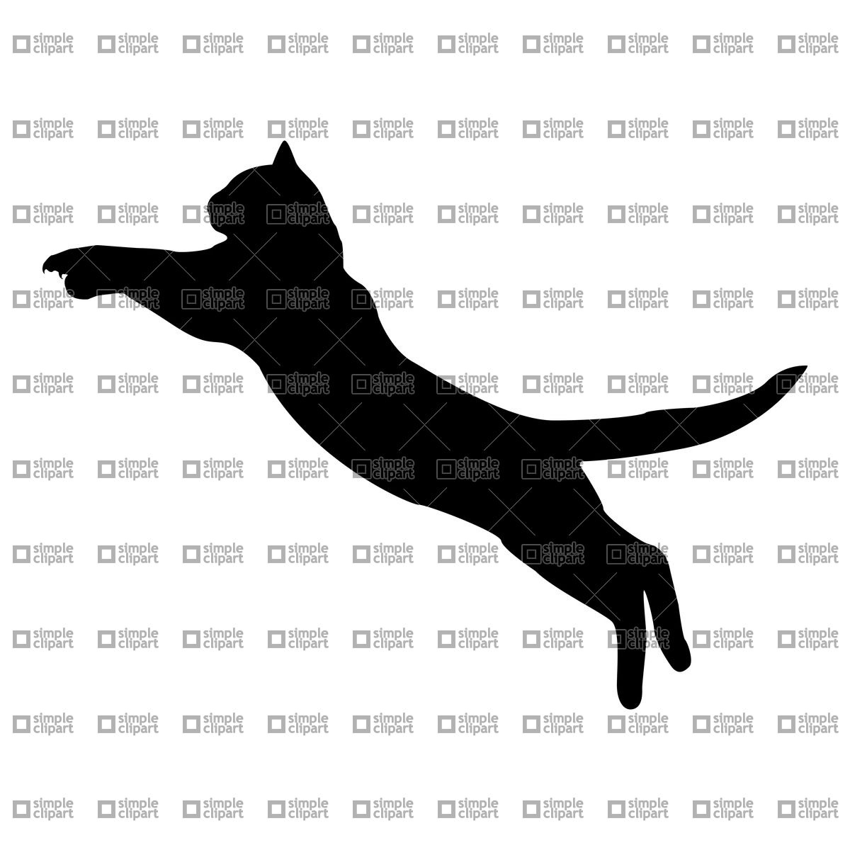 Silhouette of jumping cat Vector Image #21265.