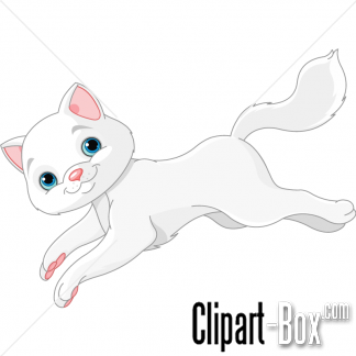 CLIPART JUMPING WHITE CAT.